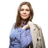 Young casual woman style isolated over white background Stock Image