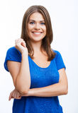 Young casual woman style isolated over white background. Royalty Free Stock Photo