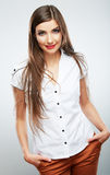 Young casual woman style isolated over white backg Royalty Free Stock Photo