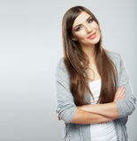 Young casual woman style isolated over white backg Stock Photo
