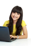 Young casual woman style with laptop Stock Photo