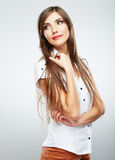 Young casual woman style  over white background. Royalty Free Stock Image