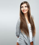 Young casual woman style  over white background. studio Stock Photo