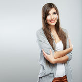 Young casual woman style  over white background. Stock Photography