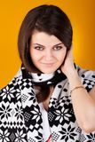 Young casual woman style in scarf and hat cap Stock Photography