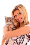 Young cat with woman isolated Stock Photography