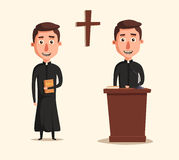 Young catholic priest. Cartoon vector illustration. Royalty Free Stock Photos