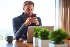 Young caucasian adult man messaging on his phone at home Royalty Free Stock Images