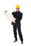 Young caucasian architect with plans Royalty Free Stock Photography