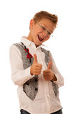 Young caucasian boy gesturing ok sign  isolated over white backg Royalty Free Stock Photography