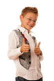 Young caucasian boy gesturing ok sign  isolated over white backg Stock Images