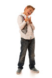 Young caucasian boy gesturing ok sign  isolated over white backg Stock Photography