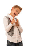 Young caucasian boy gesturing ok sign  isolated over white backg Royalty Free Stock Photo