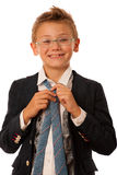 Young caucasian boy isolated over white backgrund Royalty Free Stock Image