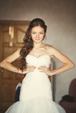 Young caucasian bride at home Royalty Free Stock Photo