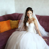 Young caucasian bride at home Stock Photography