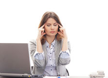 A young Caucasian brunette businesswoman working Stock Images