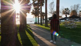 Young caucasian brunette girl in red plaid shirt walking on promenade surrounded by palm trees. Attractive woman walks to quay thr. Ough hotel beach area. Girl stock footage