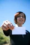 Young caucasian business lady with sheet of paper Stock Photo
