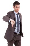 Young caucasian business man making thumbs down Stock Photos