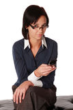 Young caucasian business woman with cell Stock Photo