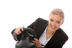Young Caucasian Business Woman Playing On Computer Royalty Free Stock Image