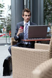 Young caucasian businessman in cafe Royalty Free Stock Image