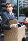 Young caucasian businessman in cafe Royalty Free Stock Images