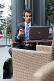 Young caucasian businessman in cafe Royalty Free Stock Photo
