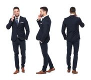 Young caucasian businessman calling front side back view isolate Royalty Free Stock Images