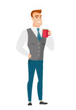 Young caucasian businessman holding cup of coffee. Stock Image