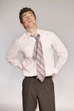 Young caucasian businessman with lipstick kiss mark on his cheek Royalty Free Stock Photo