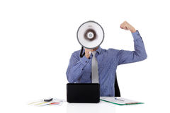 Young caucasian businessman, megaphone face. Young caucasian businessman with a megaphone in front face, clench fist as success symbol. Studio shot. White royalty free stock photo