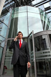 Young caucasian businessman at office exterior Royalty Free Stock Images