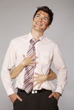 Young caucasian businessman in office romance concept Royalty Free Stock Image