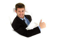 Young caucasian businessman, thumb up royalty free stock images