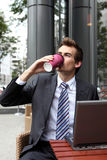 Young caucasian businessman using in cafe Stock Images