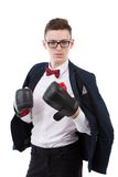 young caucasian businessman wearing boxing gloves. Stock Photography