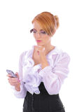 A young Caucasian businesswoman in formal clothes Royalty Free Stock Image