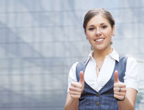 A young Caucasian businesswoman in formal clothes Royalty Free Stock Images
