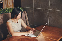 Young caucasian businesswoman with laptop. Woman in cafe Stock Photos