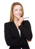 Young caucasian Businesswoman think of the idea Stock Photos