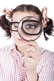 Watchful Business Woman Performing System Audit Stock Image