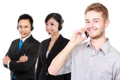 Young caucasian calling call center. isolated in white backgroun Royalty Free Stock Photography