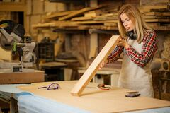 Free Young Caucasian Carpenter Woman Checking Piece Of Wood Stock Photo - 179783540
