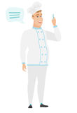 Young caucasian chef cook with speech bubble. Stock Photography