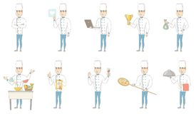 Young caucasian chef vector illustrations set. Young caucasian chef set. Chef preparing pizza, working on laptop, holding golden trophy, money bag, certificate Royalty Free Stock Images