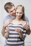 Young caucasian couple looking at Pregnancy Test Royalty Free Stock Images