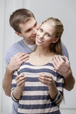 Young caucasian couple looking at Pregnancy Test Royalty Free Stock Photography