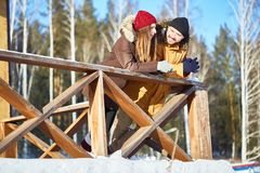 Winter weekend together stock photography